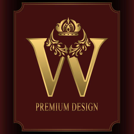 Gold Letter W with Crown. Graceful Royal Style. Calligraphic Beautiful Logo. Vintage Drawn Emblem for Book Design, Brand Name, Business Card, Restaurant, Boutique, Crest, Hotel. Vector illustration Ilustração
