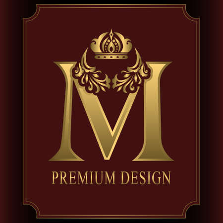 Gold Letter M with Crown. Graceful Royal Style. Calligraphic Beautiful Logo. Vintage Drawn Emblem for Book Design, Brand Name, Business Card, Restaurant, Boutique, Crest, Hotel. Vector illustration