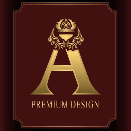 Gold Letter A with Crown. Graceful Royal Style. Calligraphic Beautiful Logo. Vintage Drawn Emblem for Book Design, Brand Name, Business Card, Restaurant, Boutique, Crest, Hotel. Vector illustration