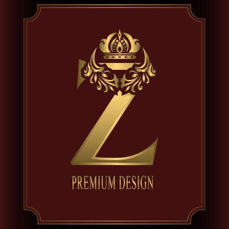 Gold Letter Z with Crown. Graceful Royal Style. Calligraphic Beautiful Logo. Vintage Drawn Emblem for Book Design, Brand Name, Business Card, Restaurant, Boutique, Crest, Hotel. Vector illustration