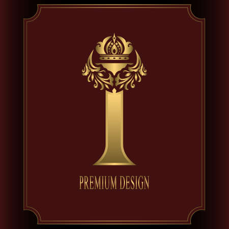 Gold Letter I with Crown. Graceful Royal Style. Calligraphic Beautiful Logo. Vintage Drawn Emblem for Book Design, Brand Name, Business Card, Restaurant, Boutique, Crest, Hotel. Vector illustration Illustration