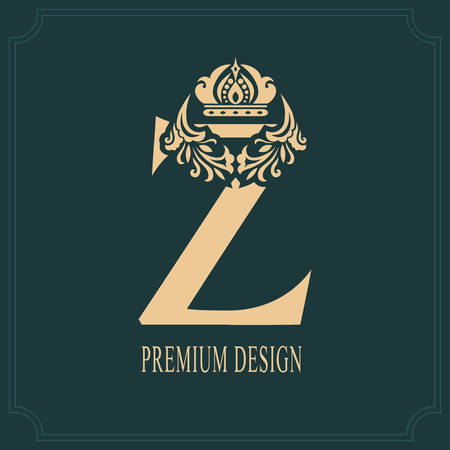 Elegant Letter Z with Crown. Graceful Royal Style. Calligraphic Beautiful Logo. Vintage Drawn Emblem for Book Design, Brand Name, Business Card, Restaurant, Boutique, Crest, Hotel. Vector illustration