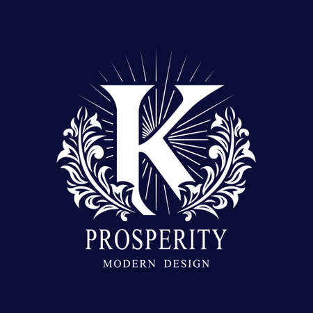 Letter K in the Sunlight. Coat of Arms with a Floral Wreath. Art Logo Design. Luxurious Monogram for Personal or Family Emblem, Business Sign, Wedding, Boutique, Hotel, Restaurant. Vector illustration