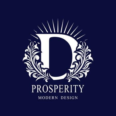 Letter D in the Sunlight. Coat of Arms with a Floral Wreath. Art Logo Design. Luxurious Monogram for Personal or Family Emblem, Business Sign, Wedding, Boutique, Hotel, Restaurant. Vector illustration