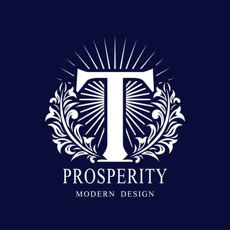 Letter T in the Sunlight. Coat of Arms with a Floral Wreath. Art Logo Design. Luxurious Monogram for Personal or Family Emblem, Business Sign, Wedding, Boutique, Hotel, Restaurant. Vector illustration Ilustração