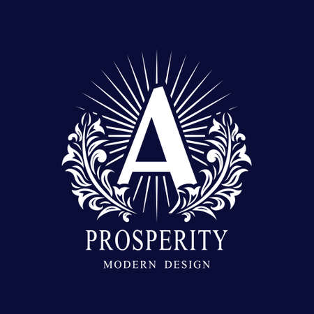 Letter A in the Sunlight. Coat of Arms with a Floral Wreath. Art Logo Design. Luxurious Monogram for Personal or Family Emblem, Business Sign, Wedding, Boutique, Hotel, Restaurant. Vector illustration Ilustração