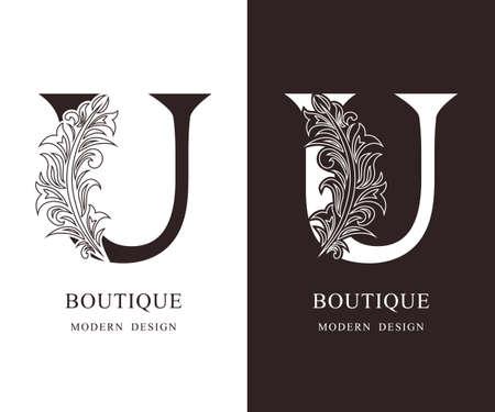 Elegant Capital letter U. Graceful royal style. Calligraphic beautiful logo. Vintage floral drawn emblem for book design, brand name, business card, Restaurant, Boutique, Hotel. Vector illustration