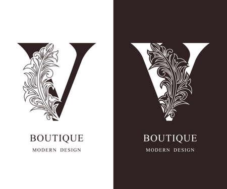 Elegant Capital letter V. Graceful royal style. Calligraphic beautiful logo. Vintage floral drawn emblem for book design, brand name, business card, Restaurant, Boutique, Hotel. Vector illustration Ilustração