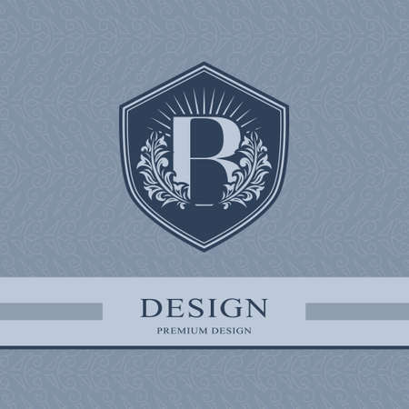 Letter B in the Sunlight. Coat of Arms with a Floral Wreath. Art Logo Design. Luxurious Monogram for Personal or Family Emblem, Business Sign, Wedding, Boutique, Hotel, Restaurant. Vector illustration