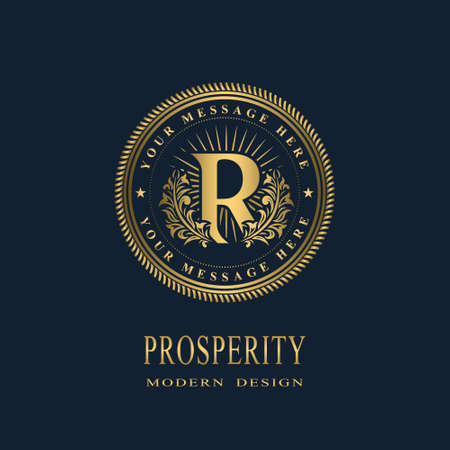 Letter R in the Sunlight. Coat of Arms with a Floral Wreath. Art Logo Design. Luxurious Monogram for Personal or Family Emblem, Business Sign, Wedding, Boutique, Hotel, Restaurant. Vector illustration Ilustração