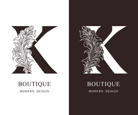 Elegant Capital letter K. Graceful royal style. Calligraphic beautiful logo. Vintage floral drawn emblem for book design, brand name, business card, Restaurant, Boutique, Hotel. Vector illustration