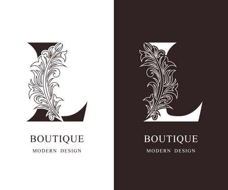 Elegant Capital letter L. Graceful royal style. Calligraphic beautiful logo. Vintage floral drawn emblem for book design, brand name, business card, Restaurant, Boutique, Hotel. Vector illustration
