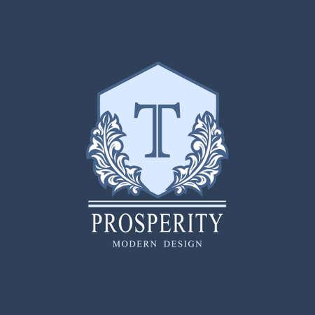 Letter T. Luxury Coat of Arms with a Floral Wreath. Art Logo Design. Luxurious Monogram for Personal or Family Emblem, Business Sign, Wedding, Boutique, Hotel, Restaurant. Vector illustration Ilustração