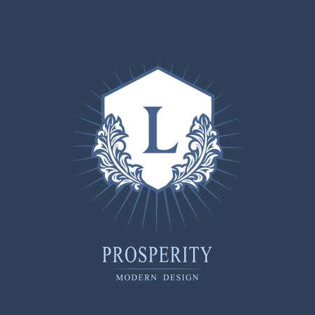 Letter L. Luxury Coat of Arms with a Floral Wreath. Art Logo Design. Luxurious Monogram for Personal or Family Emblem, Business Sign, Wedding, Boutique, Hotel, Restaurant. Vector illustration Ilustração
