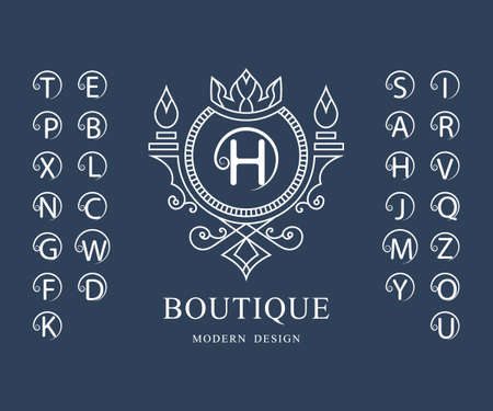 Linear Monogram Template. Set of Stylish Capital Letters with a Curl. Simple Logo. English Alphabet. Elegant Line Art Design. Emblem for Crest, Royalty, Boutique, Hotel, Restaurant, Heraldic. Vector