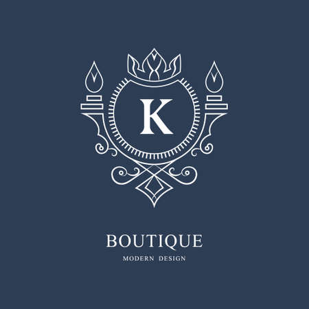 Coat of Arms. Initial Letter K. Heraldic Royal Frame with Crown. Simple Composition. Graphics Style. Logo Design. Abstract Monogram for Personal Emblem, Wedding, Boutique, Hotel. Vector Illustration Ilustração