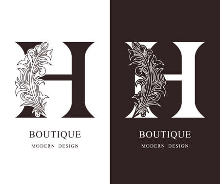 Elegant Capital letter H. Graceful royal style. Calligraphic beautiful logo. Vintage floral drawn emblem for book design, brand name, business card, Restaurant, Boutique, Hotel. Vector illustration