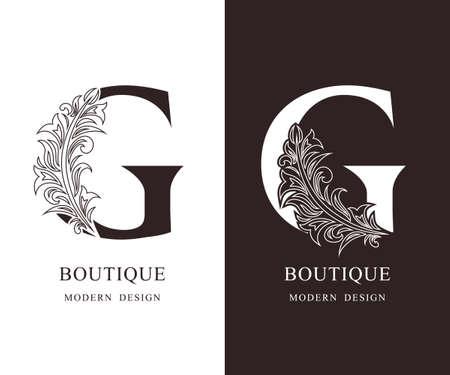Elegant Capital letter G. Graceful royal style. Calligraphic beautiful logo. Vintage floral drawn emblem for book design, brand name, business card, Restaurant, Boutique, Hotel. Vector illustration