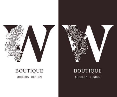 Elegant Capital letter W. Graceful royal style. Calligraphic beautiful logo. Vintage floral drawn emblem for book design, brand name, business card, Restaurant, Boutique, Hotel. Vector illustration
