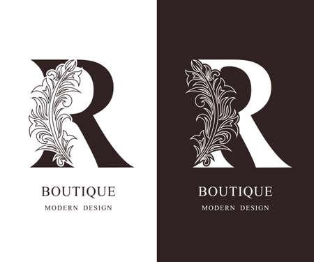 Elegant Capital letter R. Graceful royal style. Calligraphic beautiful logo. Vintage floral drawn emblem for book design, brand name, business card, Restaurant, Boutique, Hotel. Vector illustration Ilustração