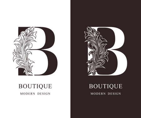 Elegant Capital letter B. Graceful royal style. Calligraphic beautiful logo. Vintage floral drawn emblem for book design, brand name, business card, Restaurant, Boutique, Hotel. Vector illustration