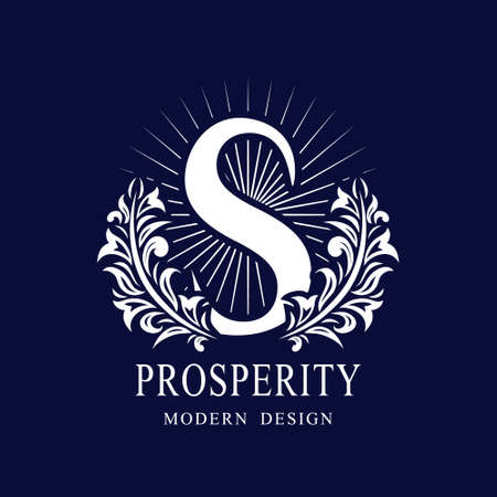 Letter S in the Sunlight. Coat of Arms with a Floral Wreath. Art Logo Design. Luxurious Monogram for Personal or Family Emblem, Business Sign, Wedding, Boutique, Hotel, Restaurant. Vector illustration