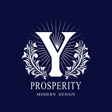 Letter Y in the Sunlight. Coat of Arms with a Floral Wreath. Art Logo Design. Luxurious Monogram for Personal or Family Emblem, Business Sign, Wedding, Boutique, Hotel, Restaurant. Vector illustration Illustration