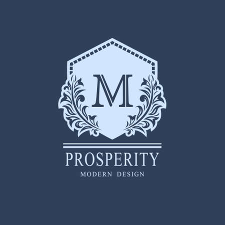 Letter M. Luxury Coat of Arms with a Floral Wreath. Art Logo Design. Luxurious Monogram for Personal or Family Emblem, Business Sign, Wedding, Boutique, Hotel, Restaurant. Vector illustration
