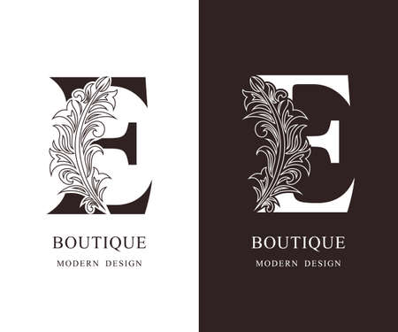 Elegant Capital letter E. Graceful royal style. Calligraphic beautiful logo. Vintage floral drawn emblem for book design, brand name, business card, Restaurant, Boutique, Hotel. Vector illustration