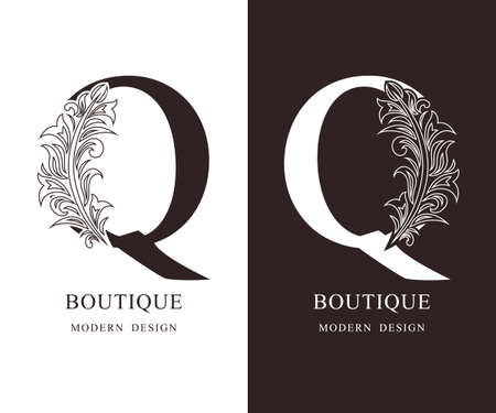 Elegant Capital letter Q. Graceful royal style. Calligraphic beautiful logo. Vintage floral drawn emblem for book design, brand name, business card, Restaurant, Boutique, Hotel. Vector illustration Ilustração