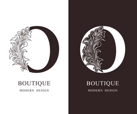 Elegant Capital letter O. Graceful royal style. Calligraphic beautiful logo. Vintage floral drawn emblem for book design, brand name, business card, Restaurant, Boutique, Hotel. Vector illustration