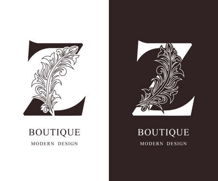 Elegant Capital letter Z. Graceful royal style. Calligraphic beautiful logo. Vintage floral drawn emblem for book design, brand name, business card, Restaurant, Boutique, Hotel. Vector illustration Ilustração