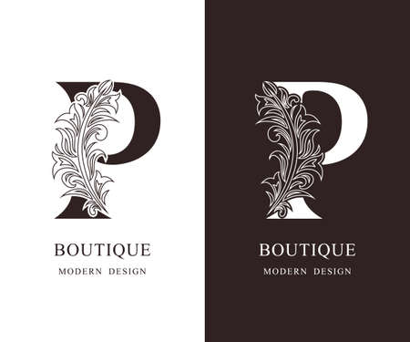 Elegant Capital letter P. Graceful royal style. Calligraphic beautiful logo. Vintage floral drawn emblem for book design, brand name, business card, Restaurant, Boutique, Hotel. Vector illustration