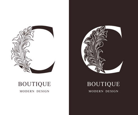 Elegant Capital letter C. Graceful royal style. Calligraphic beautiful logo. Vintage floral drawn emblem for book design, brand name, business card, Restaurant, Boutique, Hotel. Vector illustration