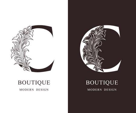 Elegante hoofdletter C. Sierlijke koninklijke stijl. Kalligrafisch mooi logo. Vintage bloemen getekende embleem voor boekontwerp, merknaam, visitekaartje, Restaurant, Boutique, Hotel. vector illustratie