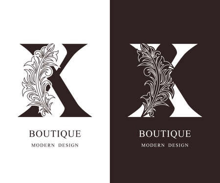 Elegant Capital letter X. Graceful royal style. Calligraphic beautiful logo. Vintage floral drawn emblem for book design, brand name, business card, Restaurant, Boutique, Hotel. Vector illustration