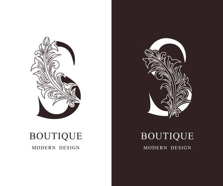 Elegant Capital letter S. Graceful royal style. Calligraphic beautiful logo. Vintage floral drawn emblem for book design, brand name, business card, Restaurant, Boutique, Hotel. Vector illustration