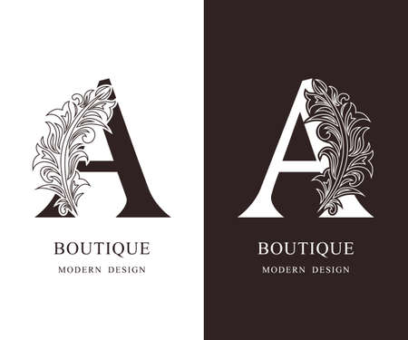 Elegant Capital letter A. Graceful royal style. Calligraphic beautiful logo. Vintage floral drawn emblem for book design, brand name, business card, Restaurant, Boutique, Hotel. Vector illustration Ilustração