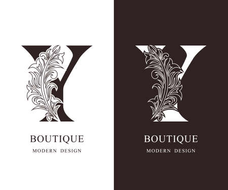 Elegant Capital letter Y. Graceful royal style. Calligraphic beautiful logo. Vintage floral drawn emblem for book design, brand name, business card, Restaurant, Boutique, Hotel. Vector illustration Ilustração