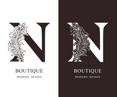 Elegant Capital letter N. Graceful royal style. Calligraphic beautiful logo. Vintage floral drawn emblem for book design, brand name, business card, Restaurant, Boutique, Hotel. Vector illustration Ilustração