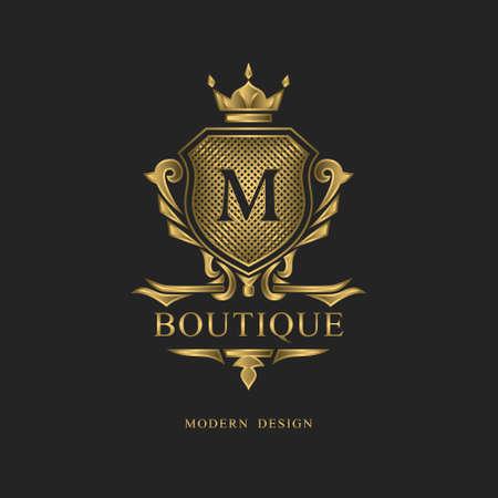 Royal monogram design. Luxury volumetric logo template. 3d line ornament. Emblem with letter M for Business sign, badge, crest, label, Boutique brand, Hotel, Restaurant, Heraldic. Vector illustration