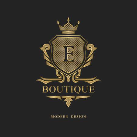 Monogram design elements, graceful template. Calligraphic elegant line art logo design. Letter emblem E sign for Royalty, business card, Boutique, Hotel, Restaurant, wine. Frame. Vector illustration