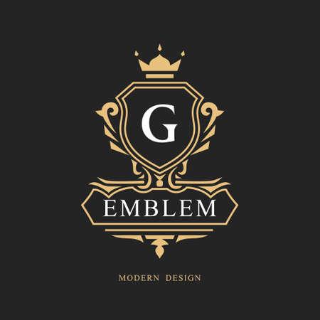 Monogram design elements, graceful template. Calligraphic elegant line art logo design. Letter emblem G sign for Royalty, business card, Boutique, Hotel, Restaurant, wine. Frame. Vector illustration Logo