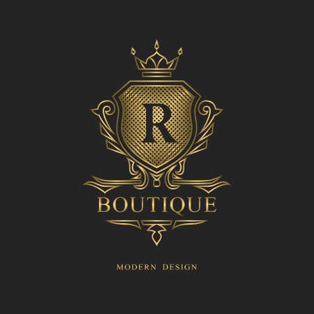 Design monogramma reale. Modello di logo volumetrico di lusso. Ornamento di linea 3d. Emblema con la lettera R per segno aziendale, distintivo, stemma, etichetta, marchio Boutique, hotel, ristorante, araldico. Illustrazione vettoriale
