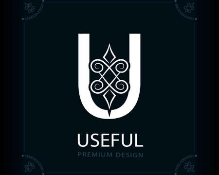 Capital Letter U. Magic Style. Modern Logo. Creative Insignia. Calligraphic Elegant Emblem for Book Design, Brand Name, Business Card, Yoga Center, Restaurant, Boutique, Hotel. Vector illustration