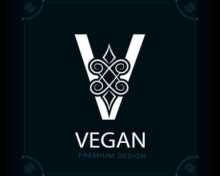 Capital Letter V. Magic Style. Modern Logo. Creative Insignia. Calligraphic Elegant Emblem for Book Design, Brand Name, Business Card, Yoga Center, Restaurant, Boutique, Hotel. Vector illustration