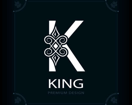 Capital Letter K. Magic Style. Modern Logo. Creative Insignia. Calligraphic Elegant Emblem for Book Design, Brand Name, Business Card, Yoga Center, Restaurant, Boutique, Hotel. Vector illustration Stock Illustratie
