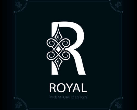 Capital Letter R. Magic Style. Modern Logo. Creative Insignia. Calligraphic Elegant Emblem for Book Design, Brand Name, Business Card, Yoga Center, Restaurant, Boutique, Hotel. Vector illustration