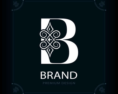 Capital Letter B. Magic Style. Modern Logo. Creative Insignia. Calligraphic Elegant Emblem for Book Design, Brand Name, Business Card, Yoga Center, Restaurant, Boutique, Hotel. Vector illustration Stock Illustratie