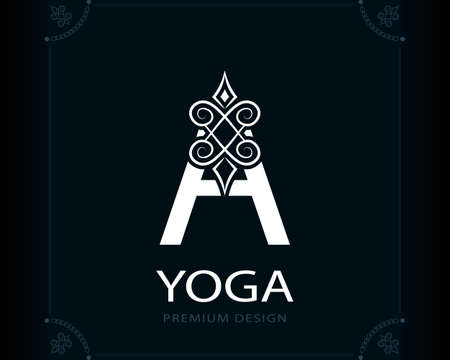 Capital Letter A. Magic Style. Modern Logo. Creative Insignia. Calligraphic Elegant Emblem for Book Design, Brand Name, Business Card, Yoga Center, Restaurant, Boutique, Hotel. Vector illustration